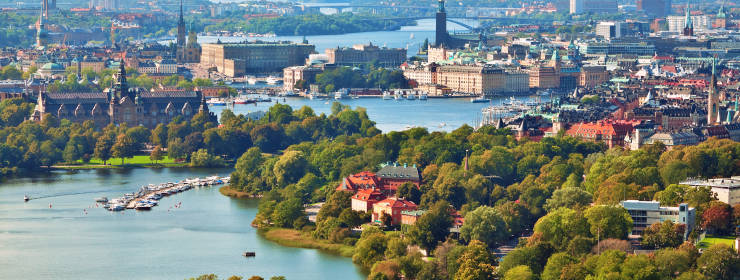 Scenic summer aerial panorama of Stockholm, Sweden